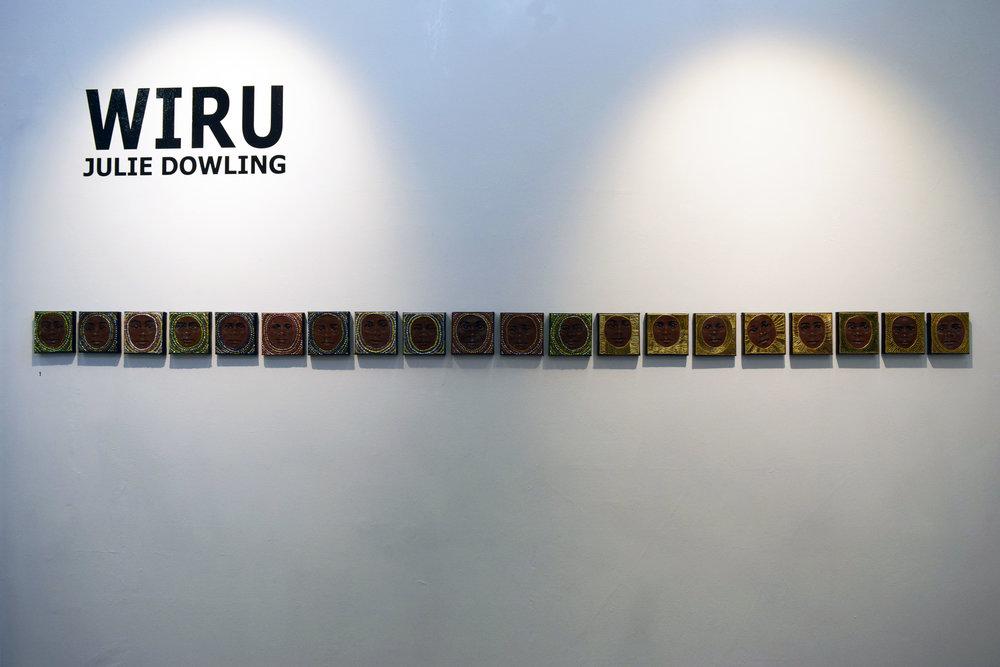 1. Julie Dowling, Wiru Series 1-20, 2018, acrylic, mica gold on canvas, 10.5 x 10.5 cm each, $500 each