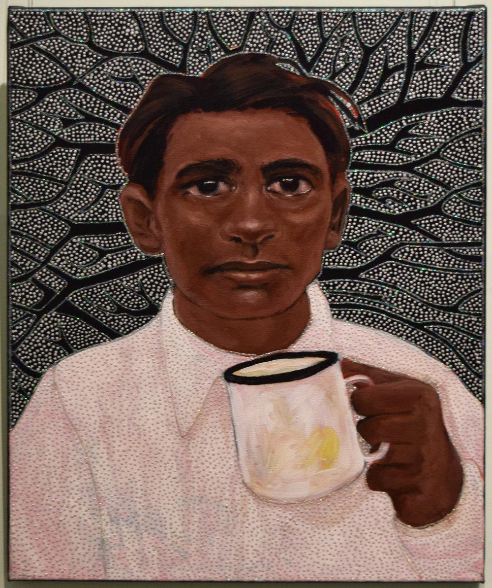 34. Julie Dowling, Dyuga (Sugar), 2018, acrylic, mica gold & plastic on, canvas, 39.5 x 50 cm, $2,500