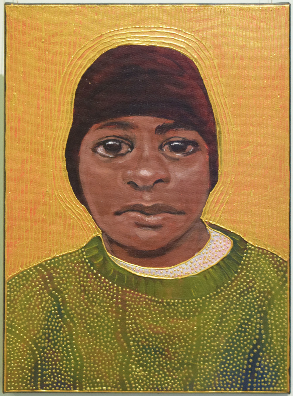 37. Julie Dowling, 'Wandangga' (Winter), 2018, acrylic, mica gold on canvas, 30 x 40 cm, $2,000