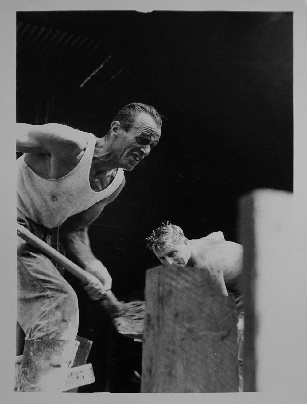 21. Richard Woldendorp, 'Concrete Workers, Perth WA', BW36, taken and printed in 1961, Vintage Print, 3rd Prize 1961 Craven 'A' National Portrait Competion