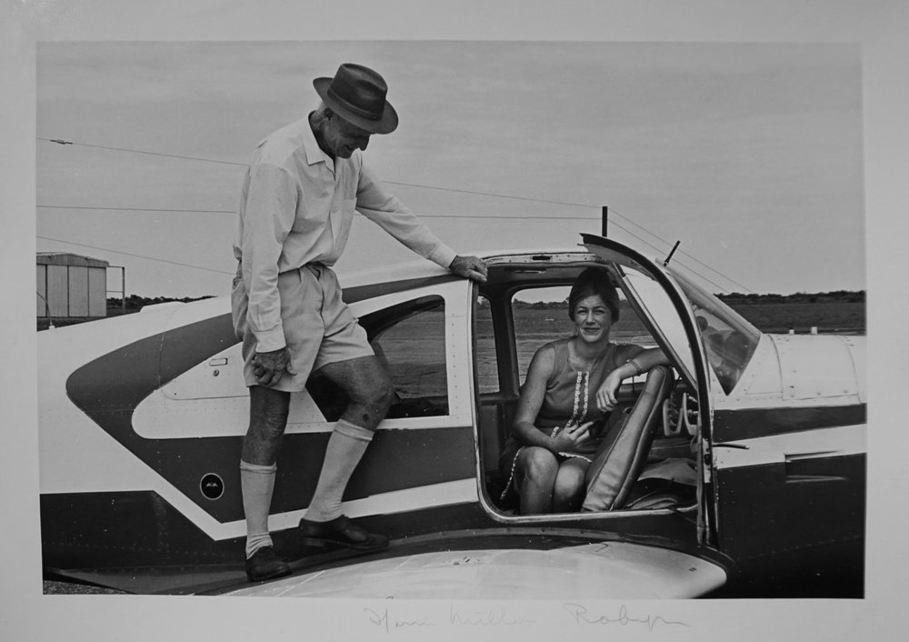33. Richard Woldendorp, 'Horrie Miller and Robin 'Sugarbird Lady' Miller, Jandakot Airport WA', BW136, taken and printed in 1968, Vintage Print
