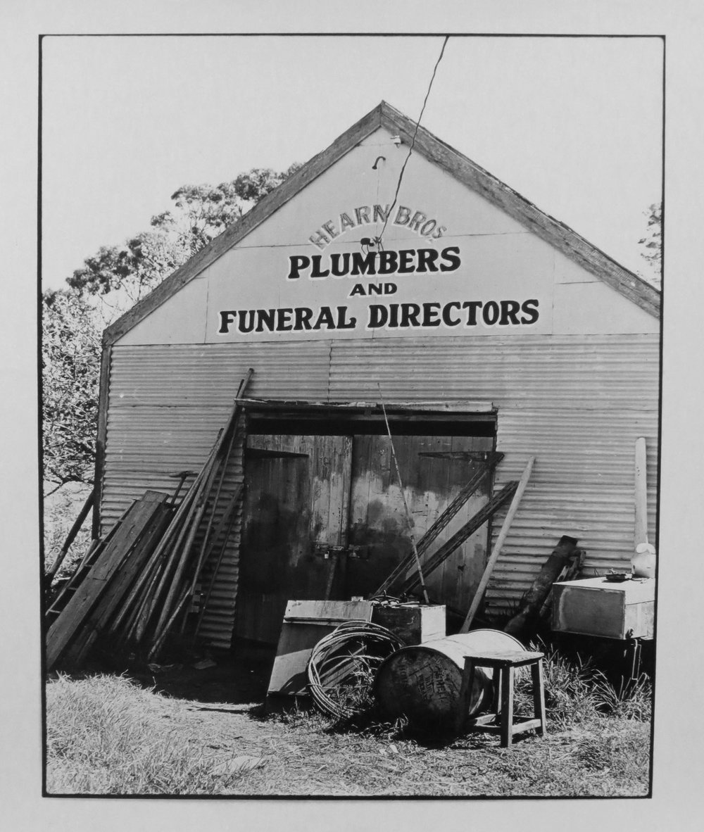 41. Richard Woldendorp, 'Plumbers and Funeral Directors, Esperance WA', BW89, taken and printed in 1968, Vintage Print