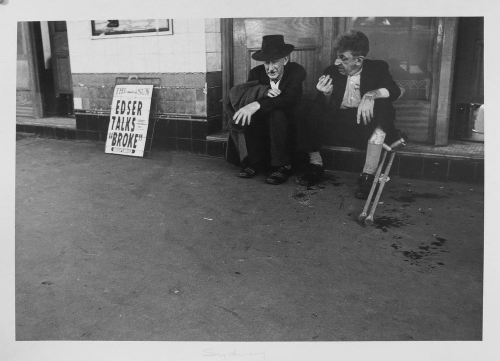 46. Richard Woldendorp, 'Edser Talks 'Broke', Circular Quay, Sydney NSW', BW33, taken and printed in 1961, Vintage Print