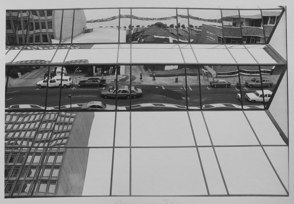 51. Richard Woldendorp, Adelaide Terrace Reflections, Perth WA, BW84, Taken and printed 1966, Vintage Print