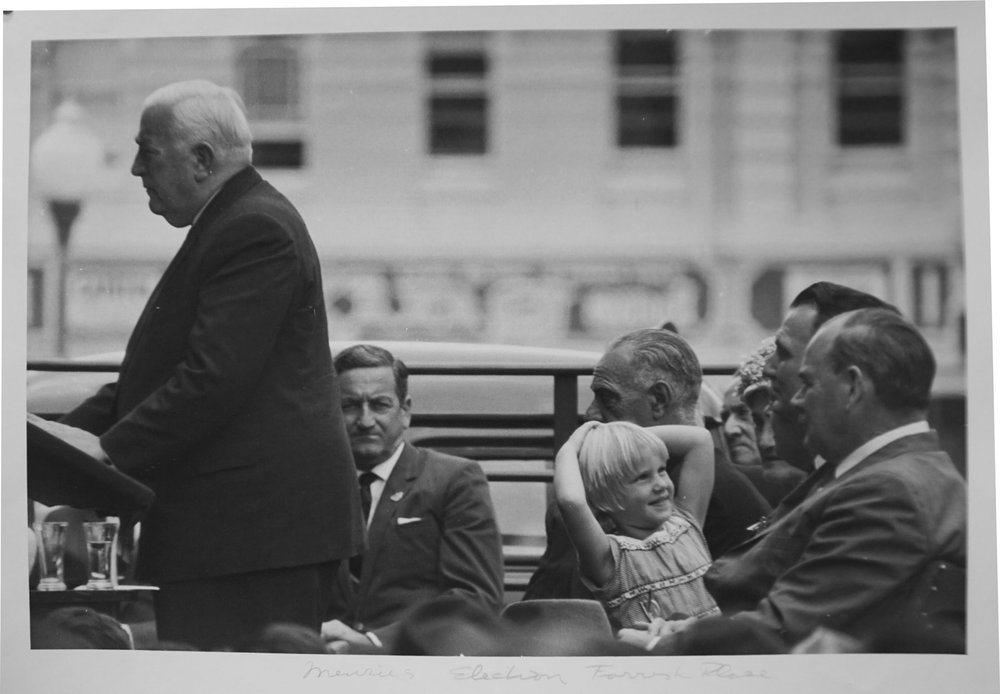 65. Richard Woldendorp, 'Robert Menzies Federal Election Campaign, Forrest Place, Perth WA', BW14, taken and printed in 1961, Vintage Print