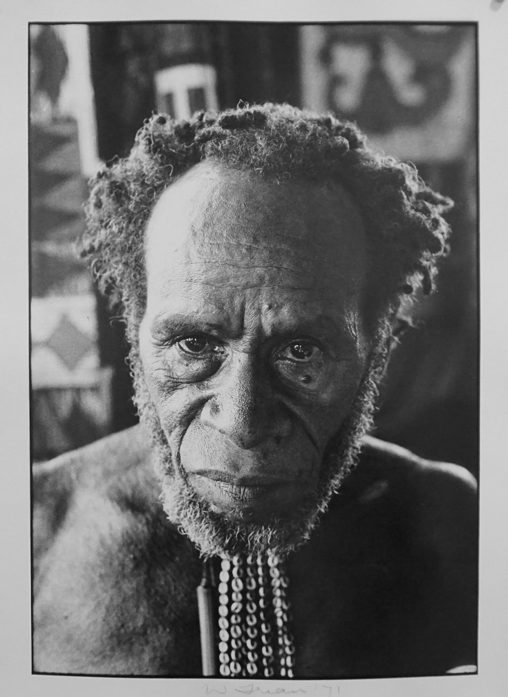 73. Richard Woldendorp, 'Village Headman, Baliem Valley, West Irian Jaya, Indonesia', BW354, taken and printed in 1971, Vintage Print