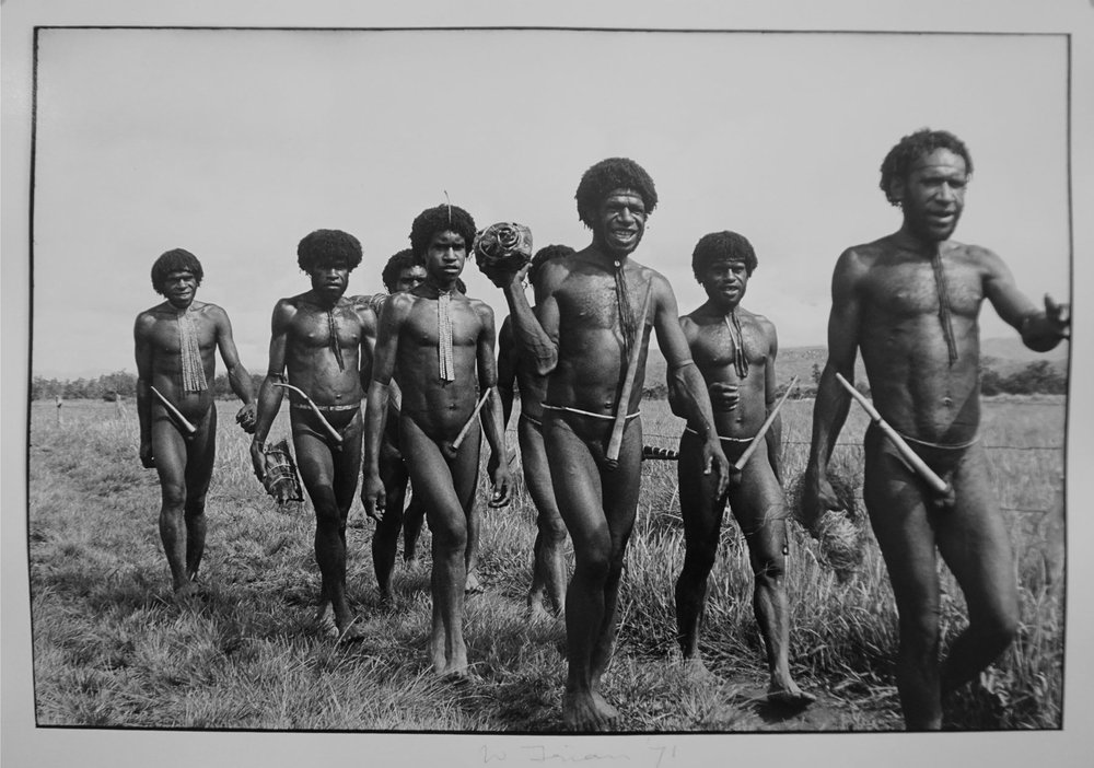 72. Richard Woldendorp, 'Papuan group of men, Baliem Valley, West Irian Jaya, Indonesia', BW200b, taken and printed in 1971, Vintage Print