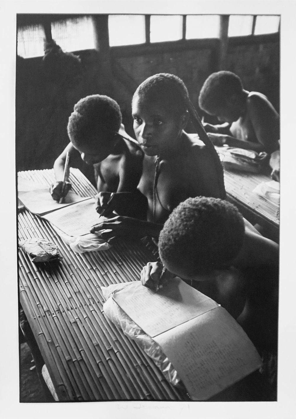 77. Richard Woldendorp, 'Children in school, Baliem Valley, West Irian Jaya, Indonesia', BW359, taken and printed in 1971, Vintage Print
