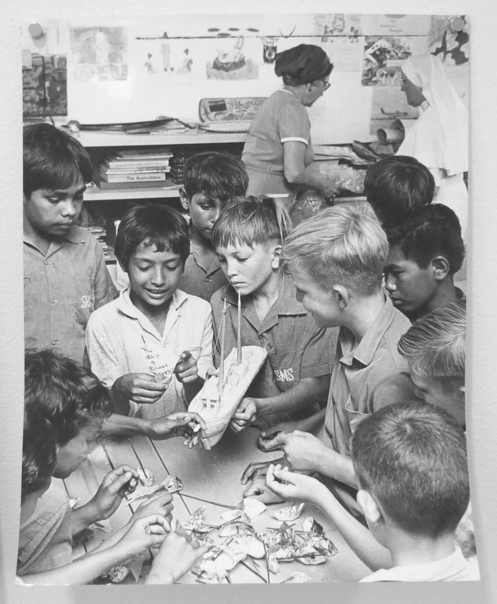 80. Richard Woldendorp, 'Convent school boys making boats for 'Ship of Dreams' performance with Mary Durack, Broome WA', taken and printed in 1968, Vintage Print