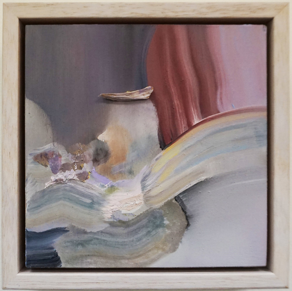 3. Stephanie Reisch, Lighshard #3, 2018, oil haematite and bone shard on wood, 15 x 15 cm, $250