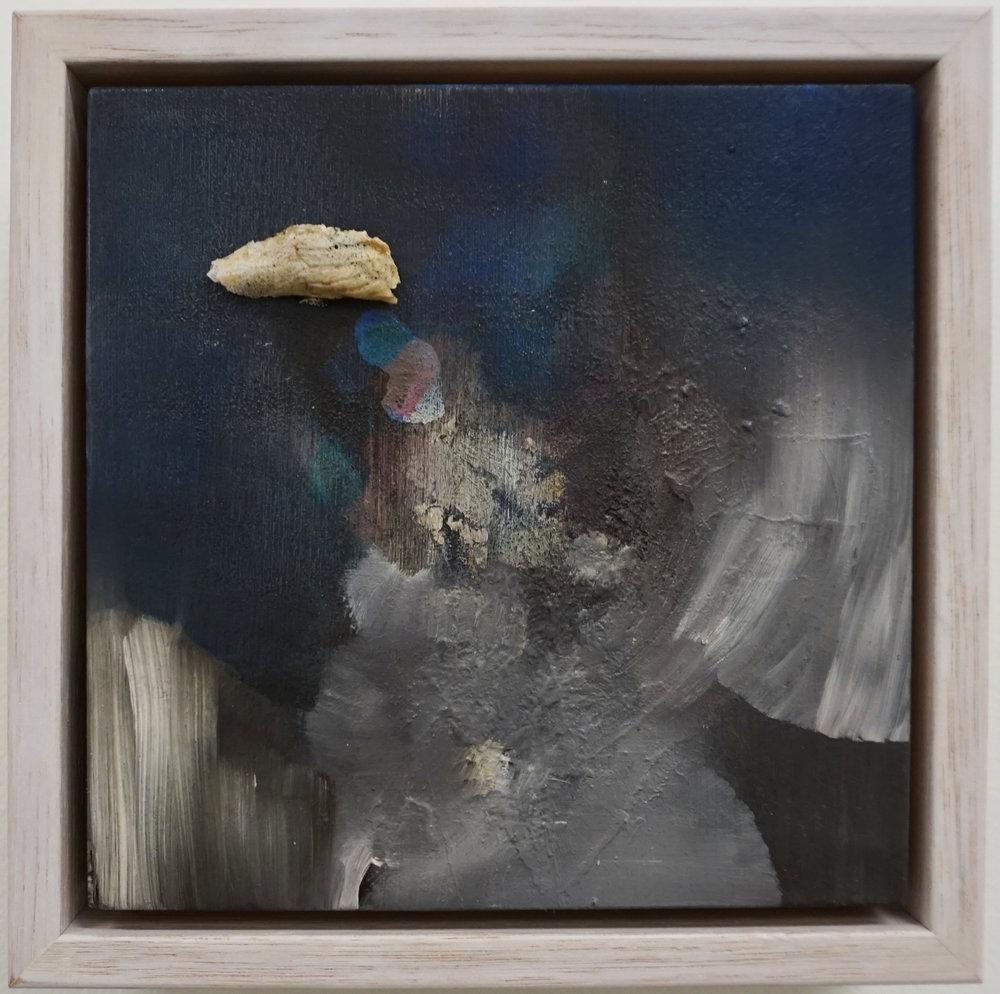 4. Stephanie Reisch, Nightshard #1, 2018, oil haematite and bone shard on wood, 15 x 15 cm, $250