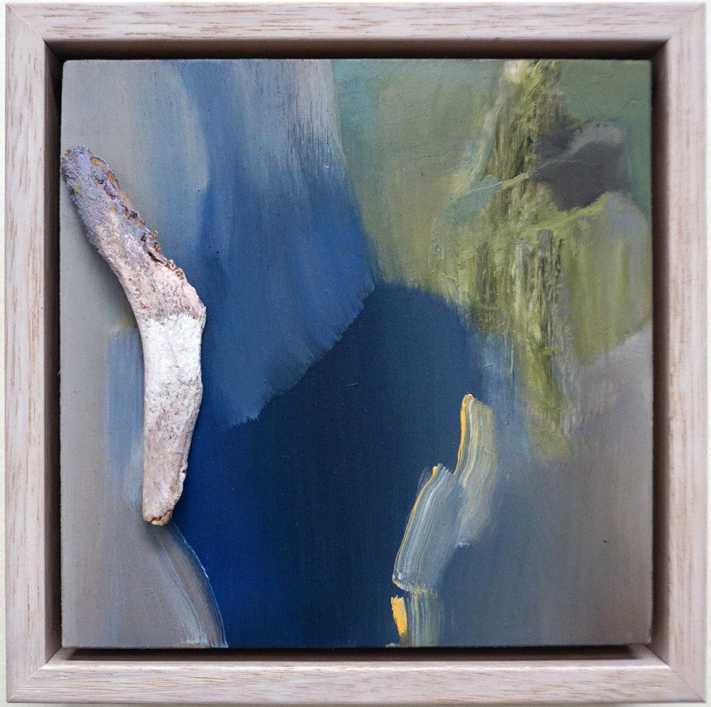 6. Stephanie Reisch, Lighshard #2, 2018, oil haematite and bone shard on wood, 15 x 15 cm, $250