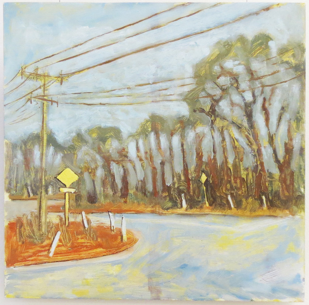 Harrison See, Intersection II (Coppin Rd & Jacoby St), 2018, Oil on board, $270