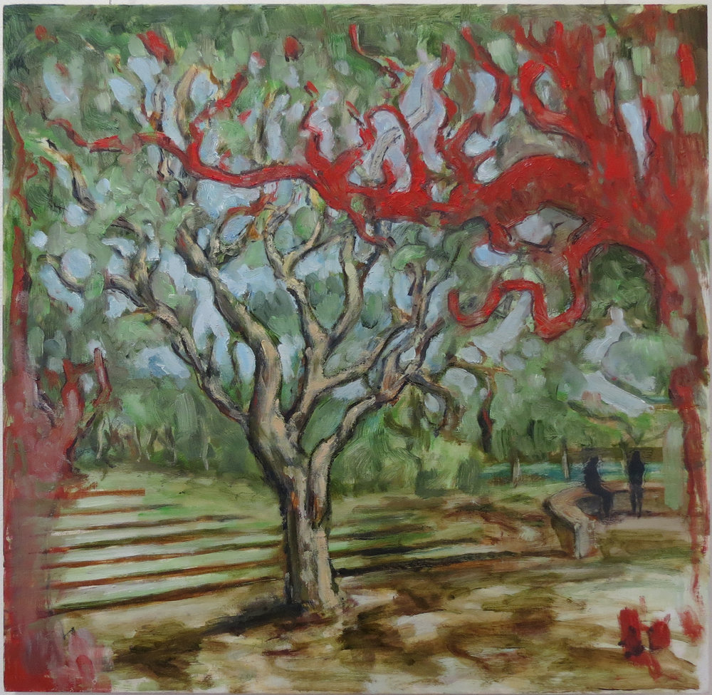 Harrison See, Red Tree (Railway Reserves Heritage Trail), 2018, Oil on board, $410