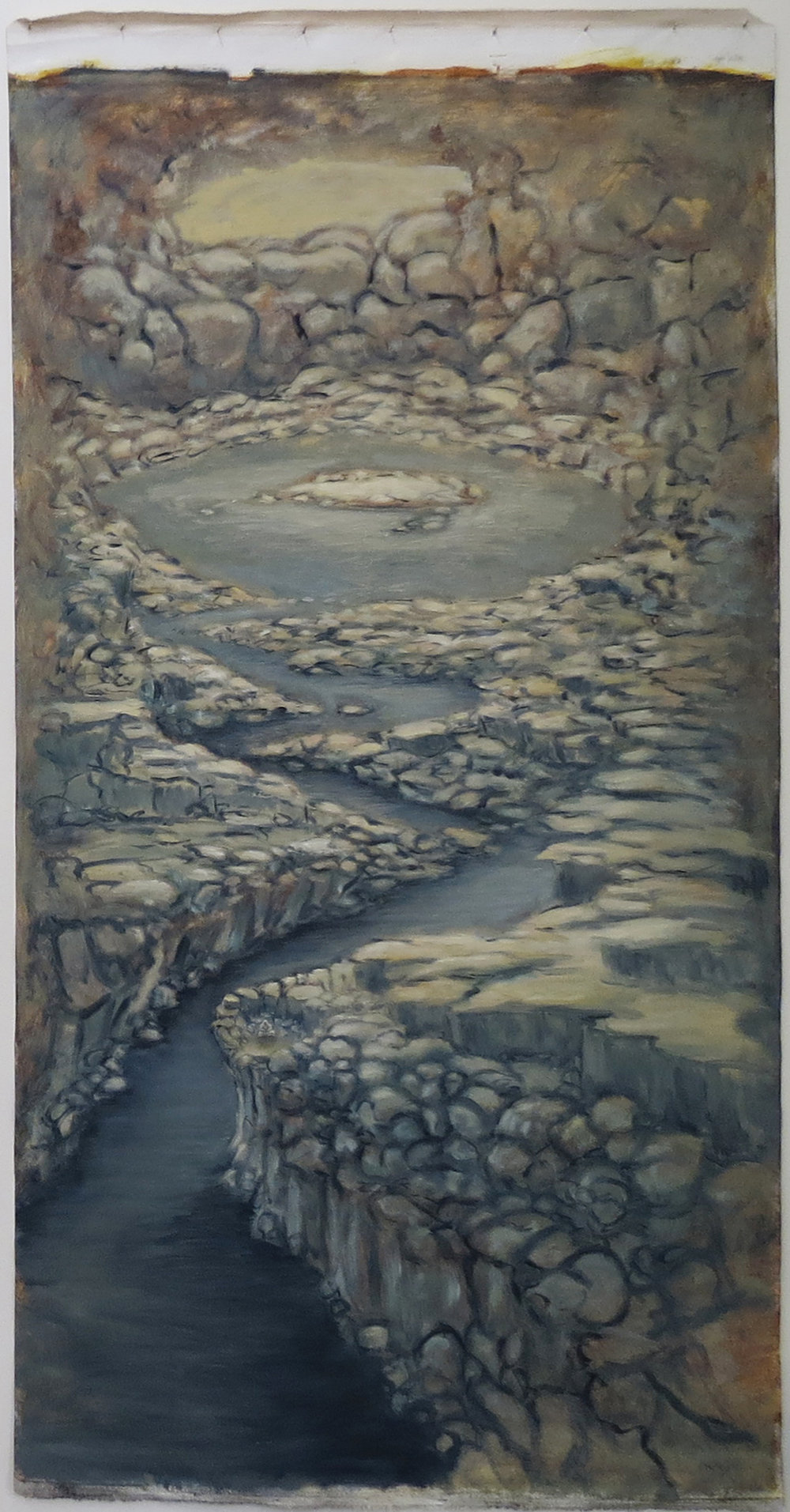 Harrison See, Valley of Stone & Water (painted in Shanghai), 2017, Oil on loose canvas, $520