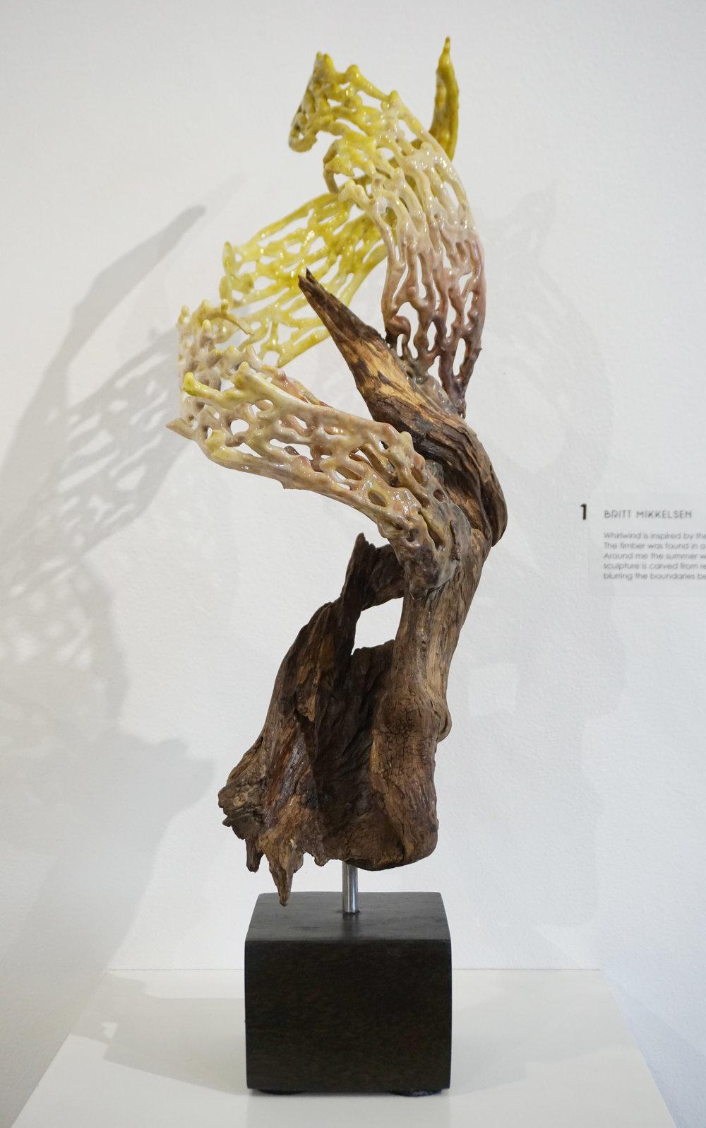 1. Britt Mikkelsen,  Whirlwind , Driftwood, recycled acrylic, resin $1,450,