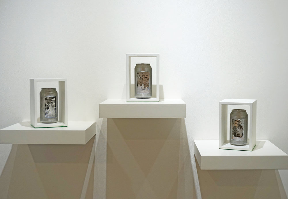 2. Joan Johnson,  Can Dioramas I, II, III , Aluminium drinking cans, wood, $990 set or $360 each
