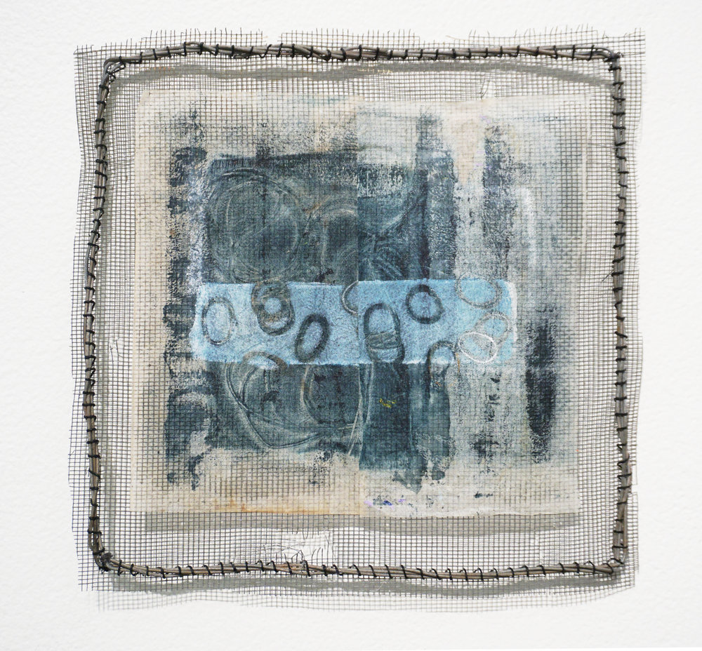 4. Andrea Day,  Sky By Night,  Flyscreen, wire, waxed linen, teabag, acrylic paint $45