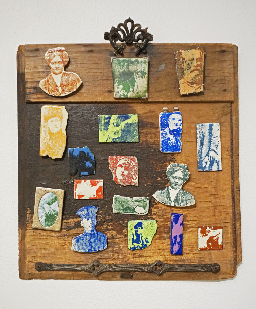 8. Kathy Aspinall,  Unwanted Ancestors , silk screened enamel, copper, silver, wood panels and brooches $825