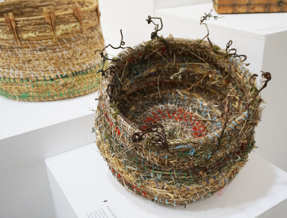 9. Miriam Gardiner,  To Have and To Hold - a marriage of abundance... and convenience,  Basketry using common weeds with Blowfly grass, Weeping Willow, jasmine, Plantain, Nasturtium $250