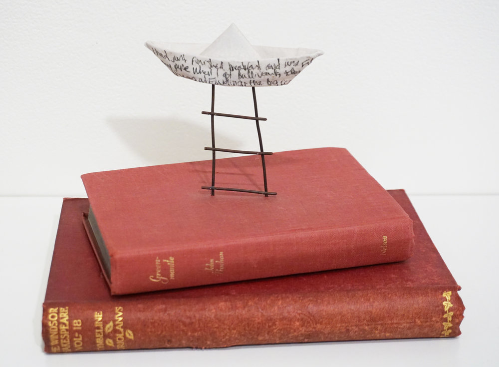 24. Jane Button,  Booked,  Ceramic, metal, old books $150