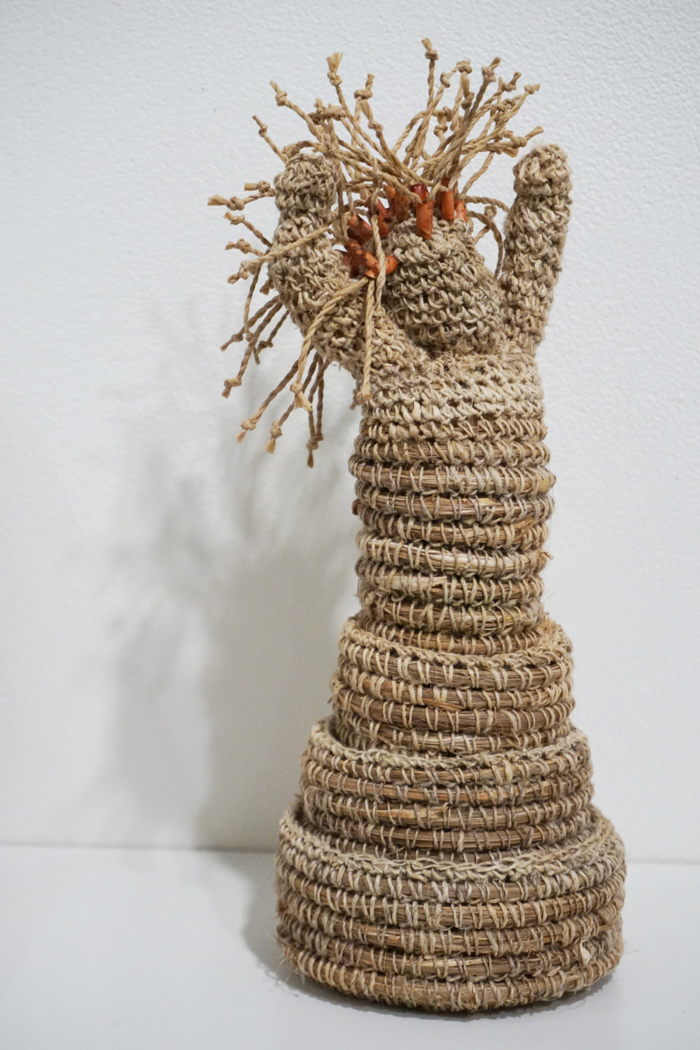25. Anne Williams,  Becoming , Cordyline, hemp, paper, set of 4 stacking forms $150