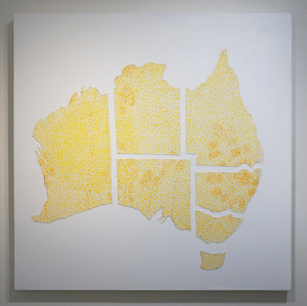 29. Dragica Milunovic,  Australian Landscape Drifting Apart,  Oil on canvas, collage, gel medium, glue $2,400
