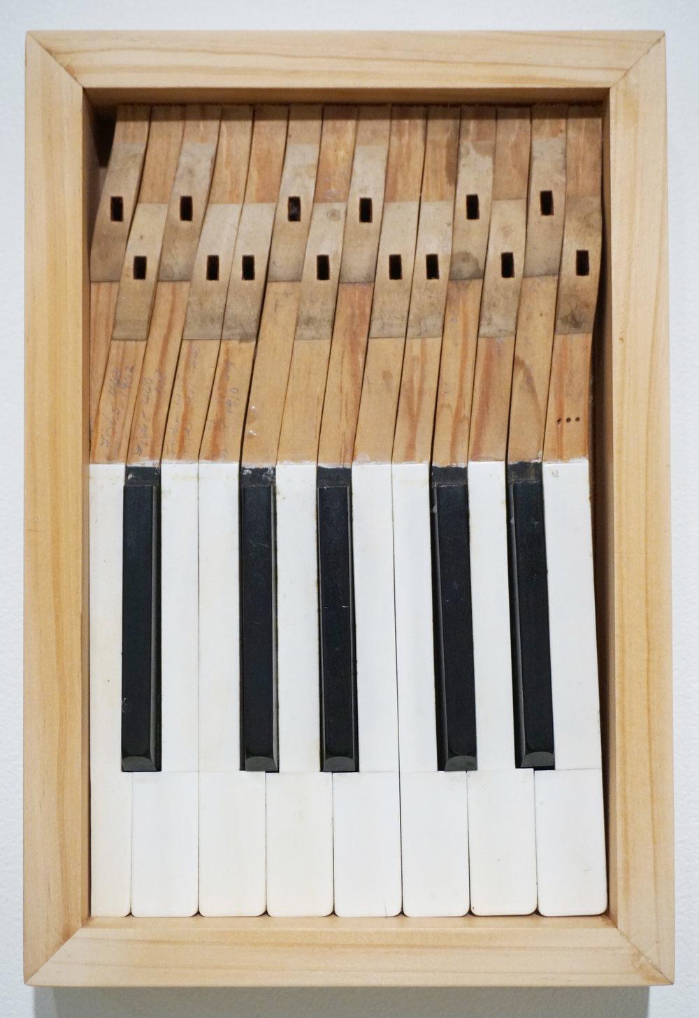 28. Marie Haass, Piano Tuner Diary 2, Assemblage, wood, ivory, ebony $250