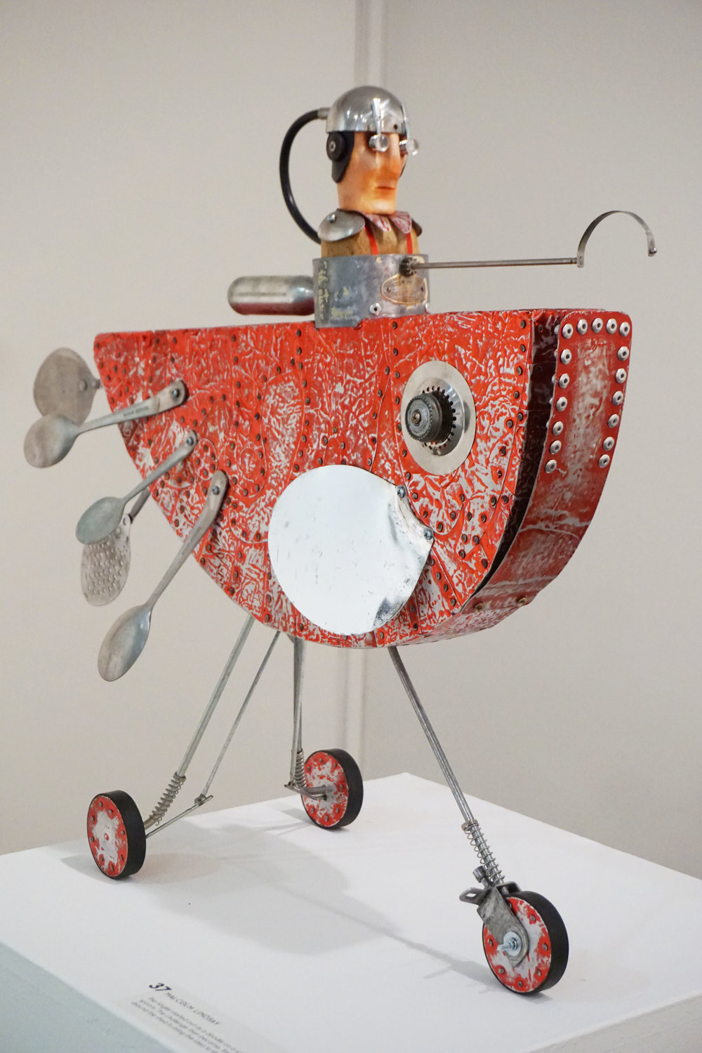 37. Malcom Lindsay,  The Angler , Wood, foil, found objects, $2,400