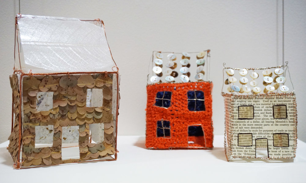 44. Louise Cook,  History Houses , Wire, paper, thread, leaves, buttons and plastic $350 set of 3 or $125 each