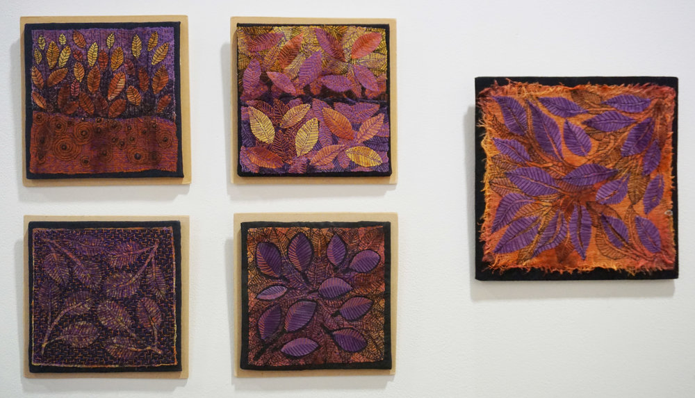 43. Lesley Parker,  Leaf Matter,  Textiles, hand dyed and stitched POA