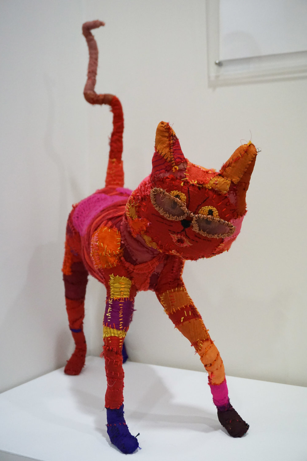 48. Frida Aditi,  Love Cat , Repurposed material include wire, t-shits, dress, cardigan, saris $500