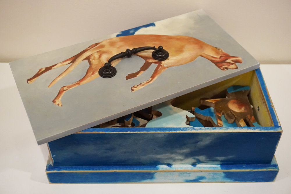 49. Ric Burkitt,  Dog Box , MDF, timber and paint $620