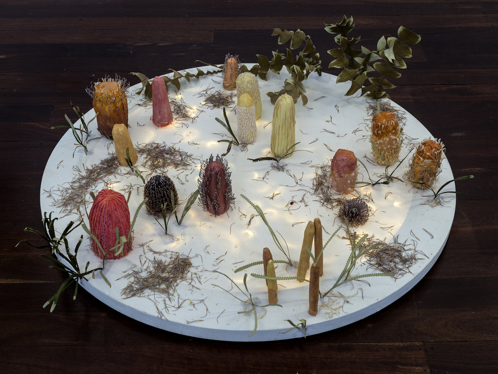 2. Emily Ten Raa,  Banksia Bush Walk Illumination , 2018, canvas, plywood, fairy lights, LED tea lights, wire gauze, tissue paper, flour and water glue, PVC glue, acrylic paint, coloured wool, cotton thread, preserved and dried Banksia leaves, petals and flowers, 100 x 100 x 20 cm, $1,385 Photograph by Eva Fernandez.
