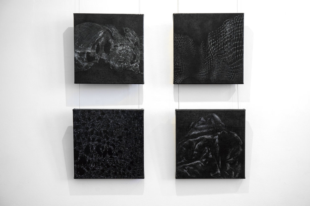 17. Mel Dare,  Reflections on Red 1-4 , 2018, acrylic and ink on Belgian linen, 30.5 x 30.5 cm each, $1,500 set of 4 Photograph by Eva Fernandez