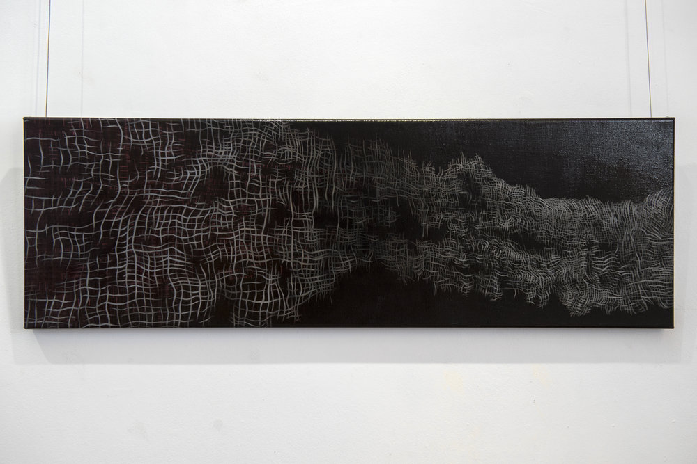 19. Mel Dare,  Reflections on Red 6 , 2018, acrylic and ink on Belgian linen, 30.5 x 91.5 cm, $1,200 Photograph by Eva Fernandez