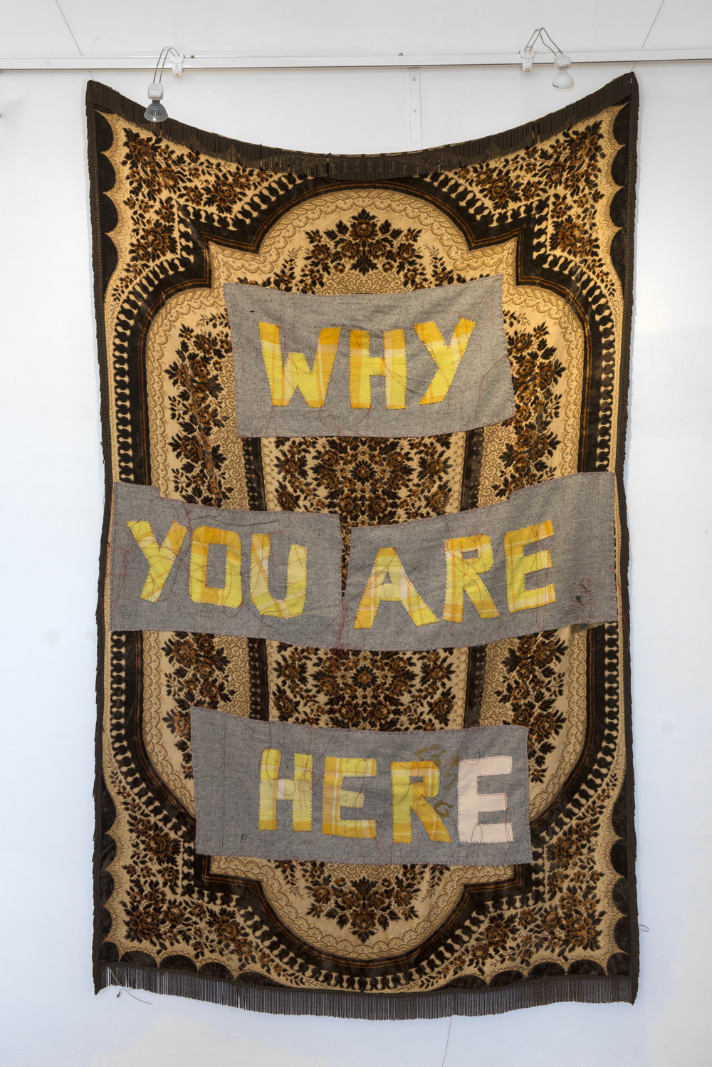 29. Olga Cironis,  Why are you here? , 2018, recycled grey and yellow woollen blanket, red thread and recycled domestic clot, 200 x 130 cm, $1,700 Photograph by Eva Fernandez