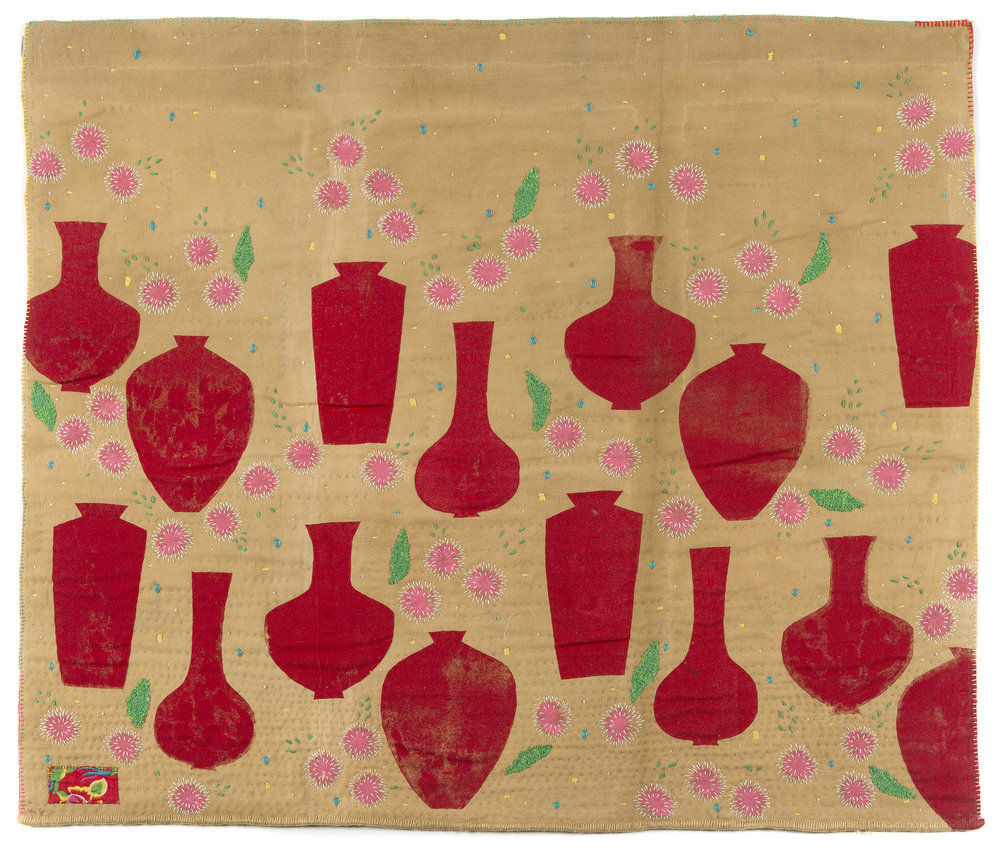 1. Sarah Toohey,  Pincusion Hakeas in Red Vases,  2018, plant dyed wool blanket, cotton, Taiwanese floral fabric, wool, cotton and synthetic thread, fabric paint, 141 x 121 cm, $990 Photograph by Eva Fernandez.