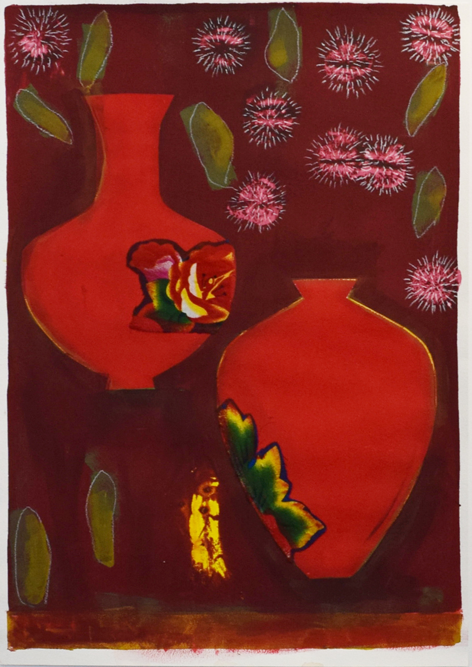 Sarah Toohey,  Study for Pincushion Hakeas in Red Vases