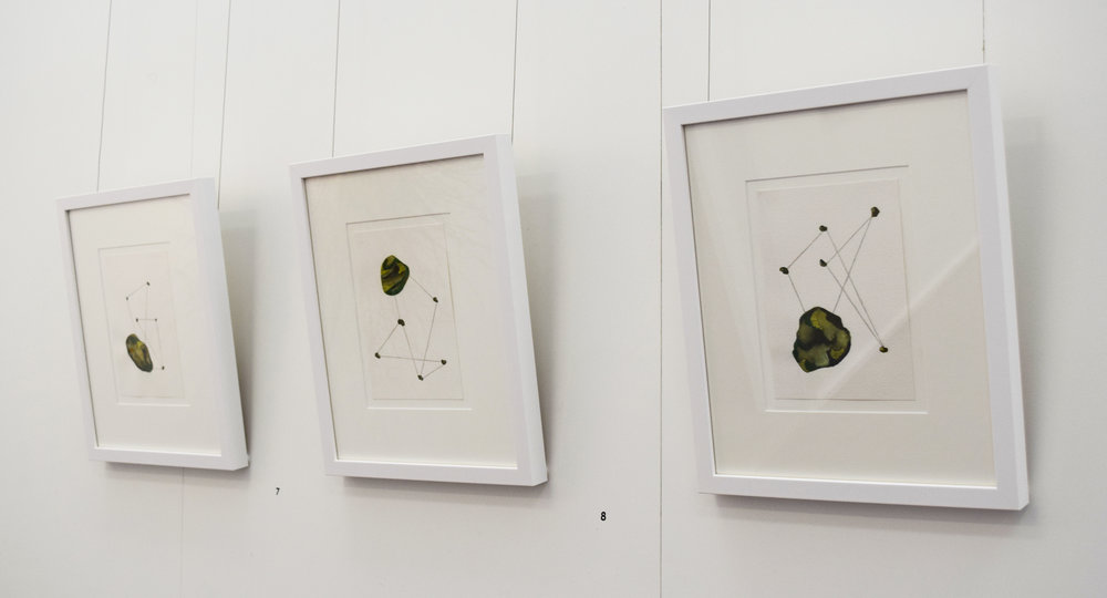 7-9. Claire Bushby,  String Figures I, II & III , 2018, watercolour on Arches paper, 40.5 x 34 cm each, $220 each
