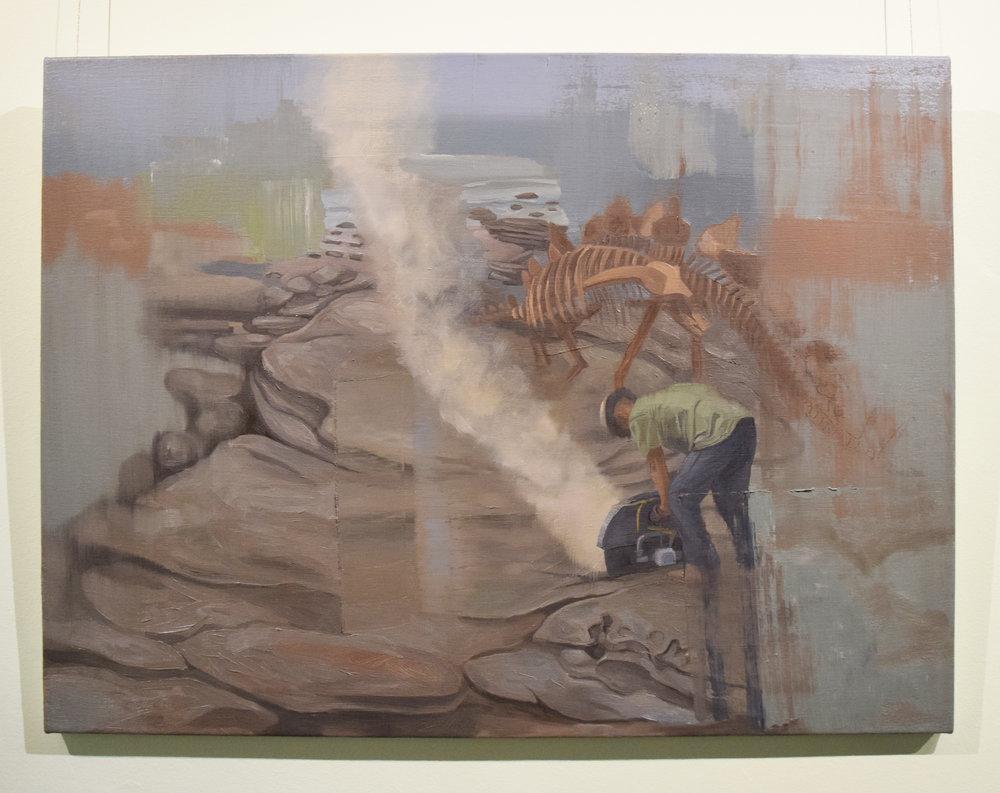 Jarrad Martyn ,   Roof Lizard,  2016, Oil on Canvas, 54 x 73 cm, $1050