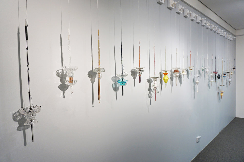 Denise Pepper,  Spinning Yarns,  glass and found objects, variable dimensions (22 works) $450 each