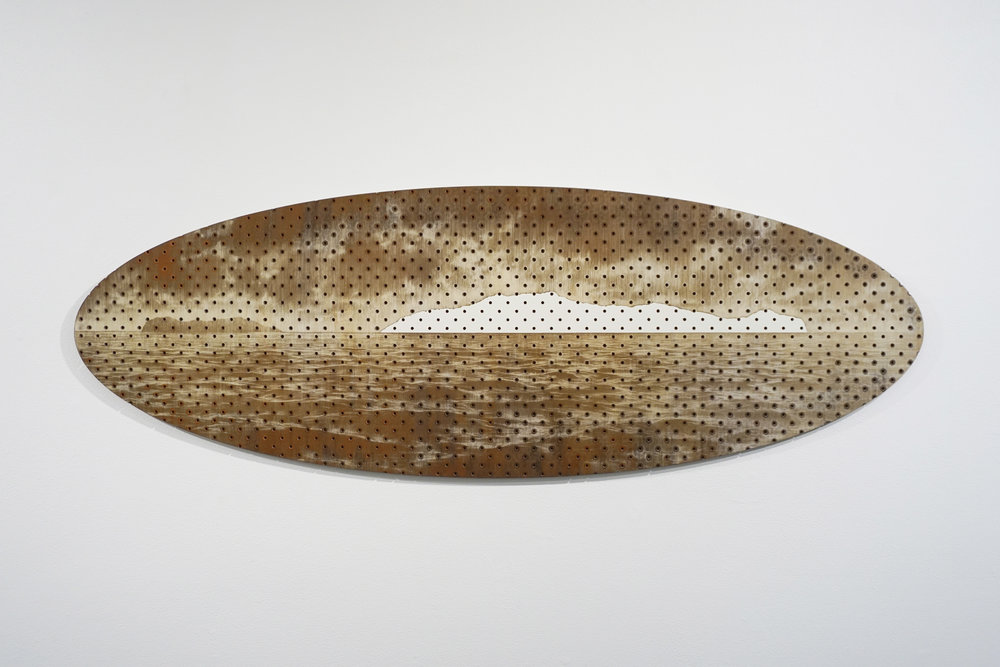 Tony Windberg,  Terra Nullius 2, Cape Chatham,  2018, pegboard, sanded rust effect paint and sealnat on MDF, 43.5 x 127 x 1.5 cm. $3,400