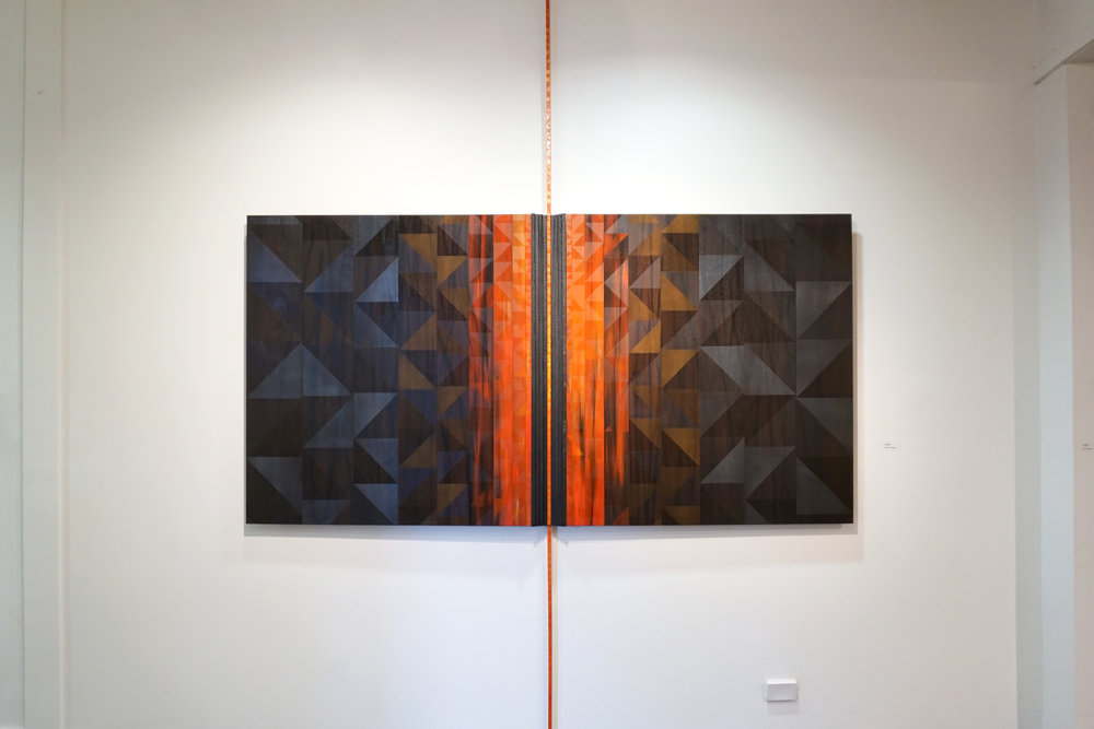 Monique Tippet,  Flame , 2018, Jarrah veneer, sheoak, inks, synthetic polymers and lacquer on board, 235 x 120 cm, $7,500