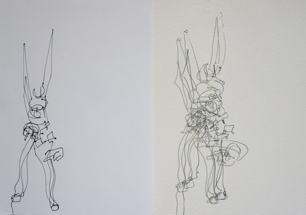 Dawn Gamblen,  Pliers - Self Portrait  (detail),   galvanised wire, paper, ink, 21 x 29.9cm each $880 for set