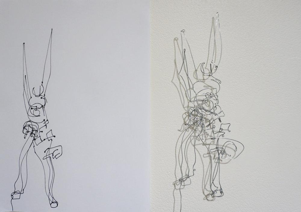 Dawn Gamblen,  Pliers - Self Portrait  (detail),   galvanised wire, paper, ink, 21 x 29.9cm each $880 for set