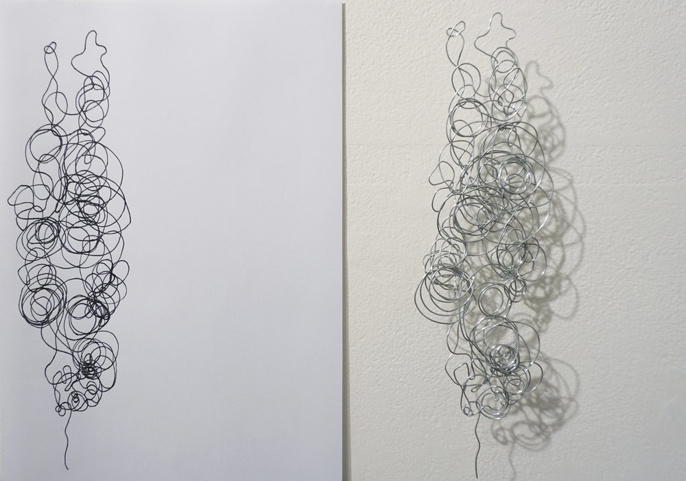 Dawn Gamblen,  Pliers - Self Portrait  (detail) , galvanised wire, paper, ink, 21 x 29.9cm each $880 for set