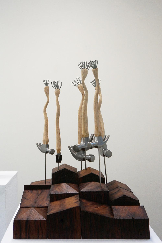Peter Hill,  Beautiful Work , hammer, galvanised nails, wooden blocks, 60 x 40 x 40 cm $3,500