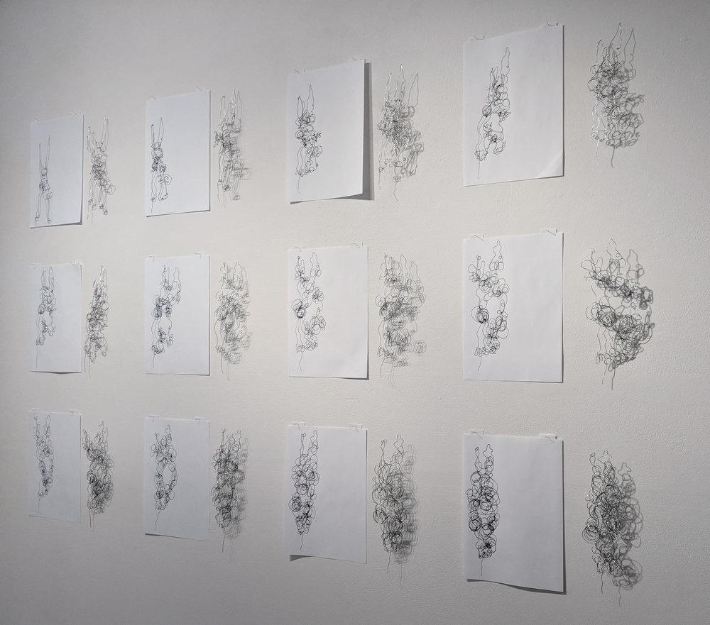 Dawn Gamblen,  Pliers - Self Portrait,  galvanised wire, paper, ink, 21 x 29.9cm each $880 for set