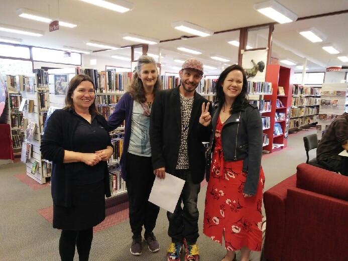 Mundaring Library Branch Librarian Helen McKissock, Mundaring Poetry Prize judge Cath Drake, Mundaring Poetry Prize winner Scott-Patrick Mitchell, and Katharine Susannah Prichard Writers Centre Chairwoman Elizabeth Lewis.